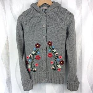 Hollister Wool Cardigan S/M Sweater Gray Floral